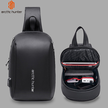 ARCTIC HUNTER 081 Mens Sling Shoulder Bag Waterproof USB Charge Crossbody Bags for Men Short Trip Messenger Fit 9.7 iPad