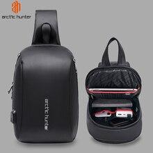 "ARCTIC HUNTER Mens Shoulder Sling Bag Waterproof USB Crossbody Bags for Men Short Trip Messenger Bag Chest Pack Fit 9.7"" iPad"