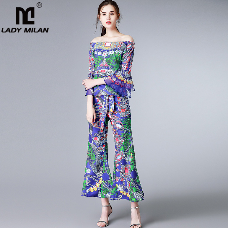 New Arrival 2018 Womens Slash Neckline Flare Sleeves Printed Blouse with Lace Up Bow Floral Pants Fashion Two Piece Twinsets