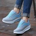 Marca confortável menina tremendo sapatos das senhoras da alta qualidade lace-up sapatos Ultra-leve balançou Aumento sapatos Zapatos Mujer seus sapatos