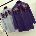 Retro embroidered long-sleeved blouse women tassel denim shirt female camisas mujer