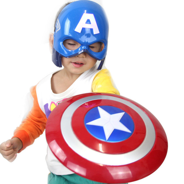 2016 Avengers Captain America Hero Shield Light-Emitting 30cm + Captain Mask Cosplay Boys Toy Avengers Captain America Cosplay