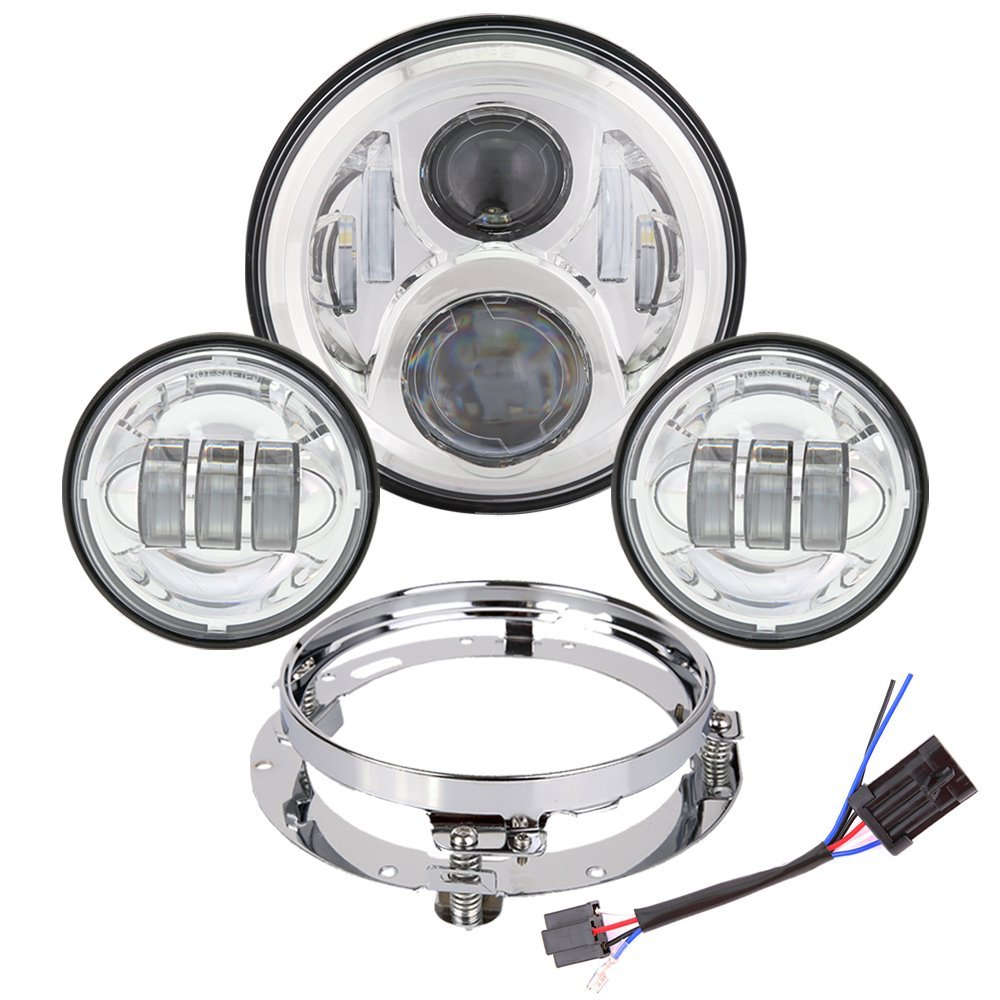 Harley Touring Headlight Set DOT 7 Chrome LED Projector Daymaker Headlights + Fog Passing Lights With Bracket adaptive Harness 7 inch led daymaker headlights 4 5 fog light passing white angele eye