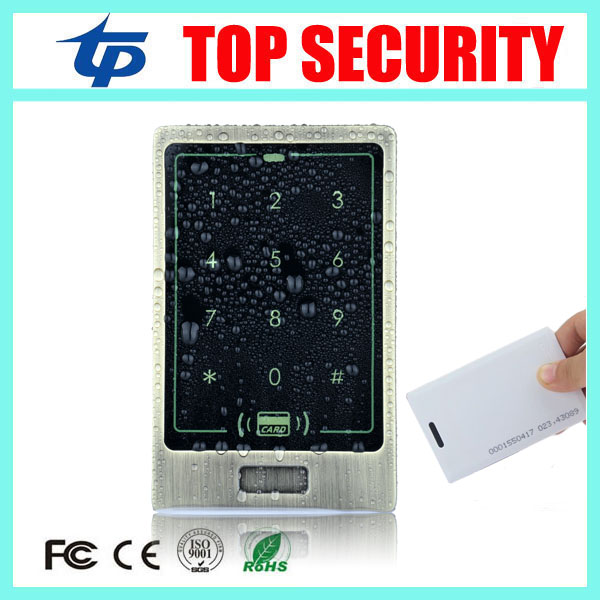 Door security access control system 125KHZ RFID card access control opener touch waterproof keypad metal access control reader waterproof door security access control system 125khz rfid card access control outdoor opener with rain cover 10 piece keyfobs