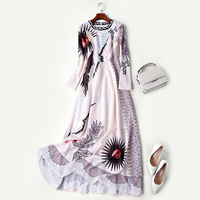 New big shop sign aristocratic temperament dress long sleeved round collar nail bead cultivate morality show thin dress