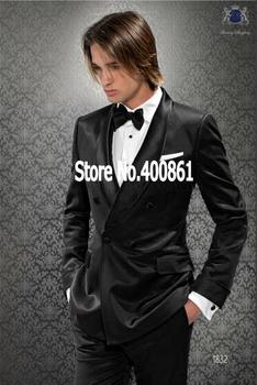High Quality Black Mens Suits Groom Tuxedos Groomsmen Wedding Party Dinner Best Man Suits (Jacket+Pants+Tie) K:2382
