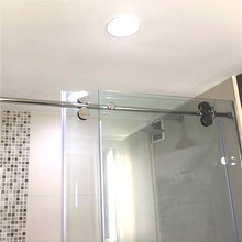 Buy frameless glass sliding door hardware and get free shipping on 66ft chrome polished bypass frameless sliding glass shower door track barn shower door hardware kit planetlyrics Images