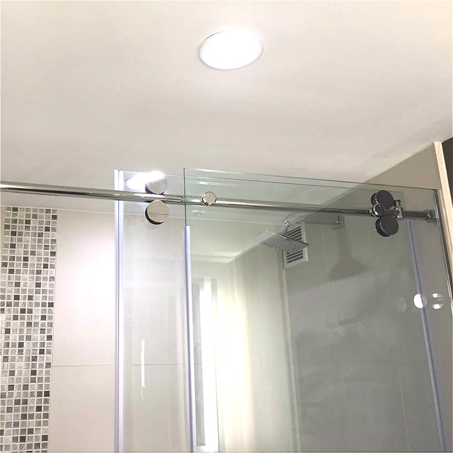 66ft chrome polished bypass frameless sliding glass shower door track barn shower door hardware kit - Glass Shower Door Hardware