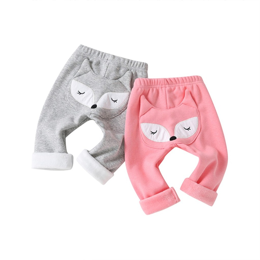 Kids Pants Thicken Warm Children Pants  Clothing For Winter  Kids Baby Boys Girls Cartoon Fox Keep Warm Leggings Trousers(China)