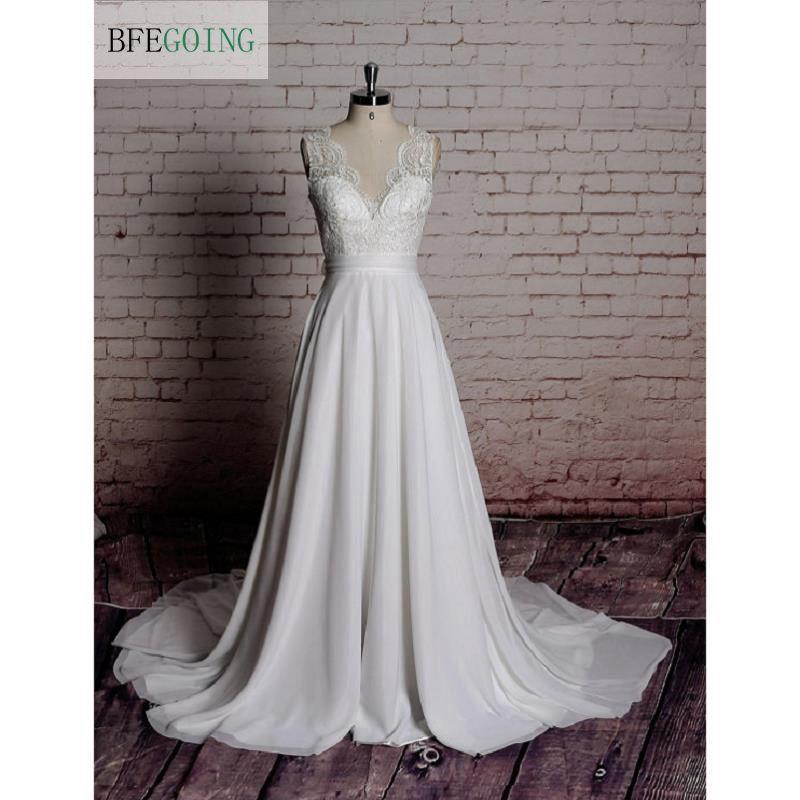 Ivory Chiffon Appliques A line Floor length Wedding dress Chapel Train V Neck Sleeveless Custom made