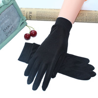 2017 Real Silk Gloves Women's Spring Summer Autumn Gloves Soft Silky Female Sunproof Gloves Anti-UV Ladies Mittens Solid Color