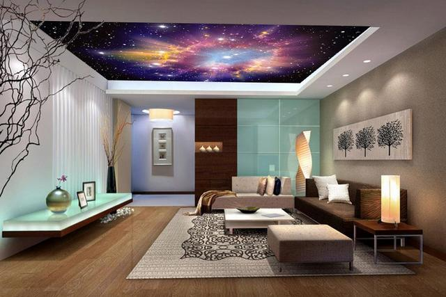 Star color cloud ceiling 3d wallpaper modern for living room murals ...