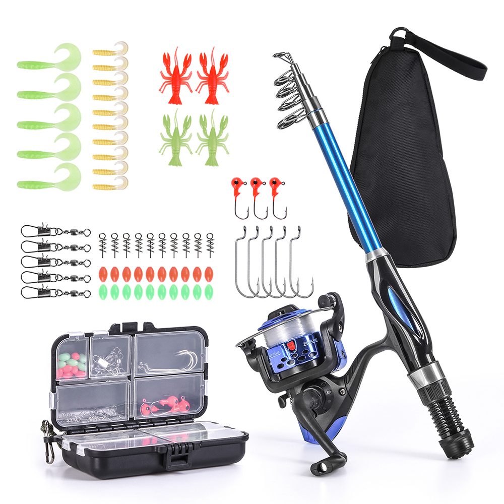 Blusea Pole-Set Reel Fishing-Bag-Accessory Fishing-Rod-Combo Spinning Telescopic  title=