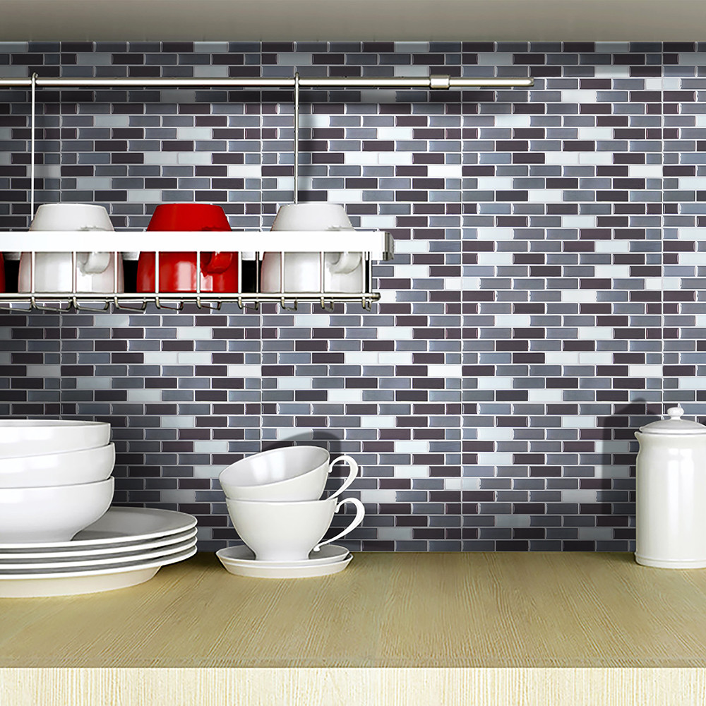 - Vintage Brown Grey Gold Foil Glass Mosaic Tiles DIY Kitchen
