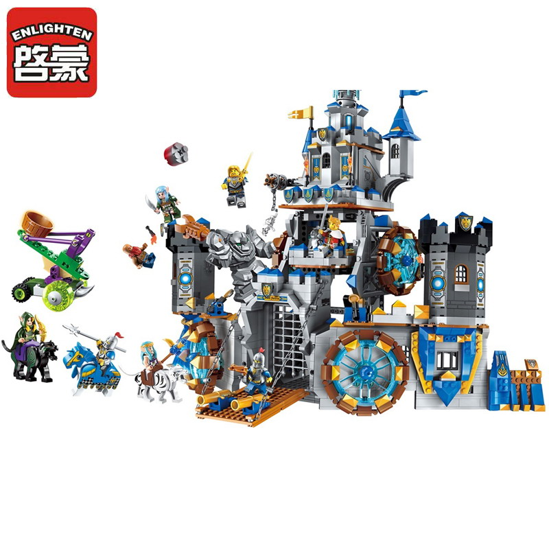 2317 ENLIGHTEN War Of Glory Castle Knights Battle Bunker Model Building Blocks DIY Figure Toys For Children Compatible Legoe enlighten 2314 war of glory castle knights shop model building block 368pcs educational toys for children compatible legoe