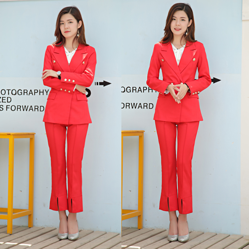 Féminin Printemps Fourchette Pantalon Costume 2018 Rouge Split Coréennes Évasée De Et Automne Femmes Mode Nouveau wZqX788