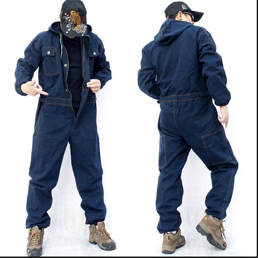 M-4xl Denim Overalls Workwear Jumpsuit Long Sleeve Multi-pocket Hood Loose Large Size Jumpsuits Uniform Wear Resistan Jeans