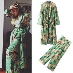 Frauen Casual anzug Frauen Anzug Volle Hülse Lange Kimono Tops und + Lose Drucken Breites Bein Keucht 2 Stück Set Elastischer Baumwolle freizeit
