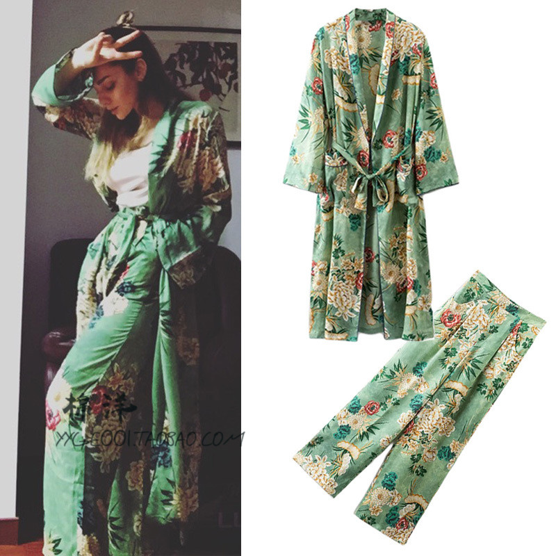Women's Casual Suit  Women Suit Full Sleeve Long Kimono Tops And+Loose Print Wide Leg Pants 2 Piece Set Elastic Cotton Leisure