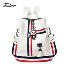Купить с кэшбэком 2018 Women Backpack Stripe Soft Leather Ladies Shoulder Bags Women's Backpacks for Teenager Girls Travel Bags Rucksack Mochila
