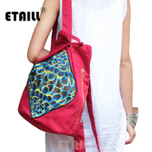 ETAILL 2018 National Women Embroidered Backpack College Students School Bag Vintage Girls Female Travel Mochila