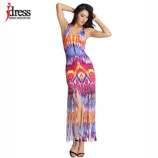 6bbd6ac548 IDress 3 Colors XXL New Hot Selling Summer Casual Beach Dresses Sleeveless  Tank Top Tassels Long Women Maxi Dress Vestidos