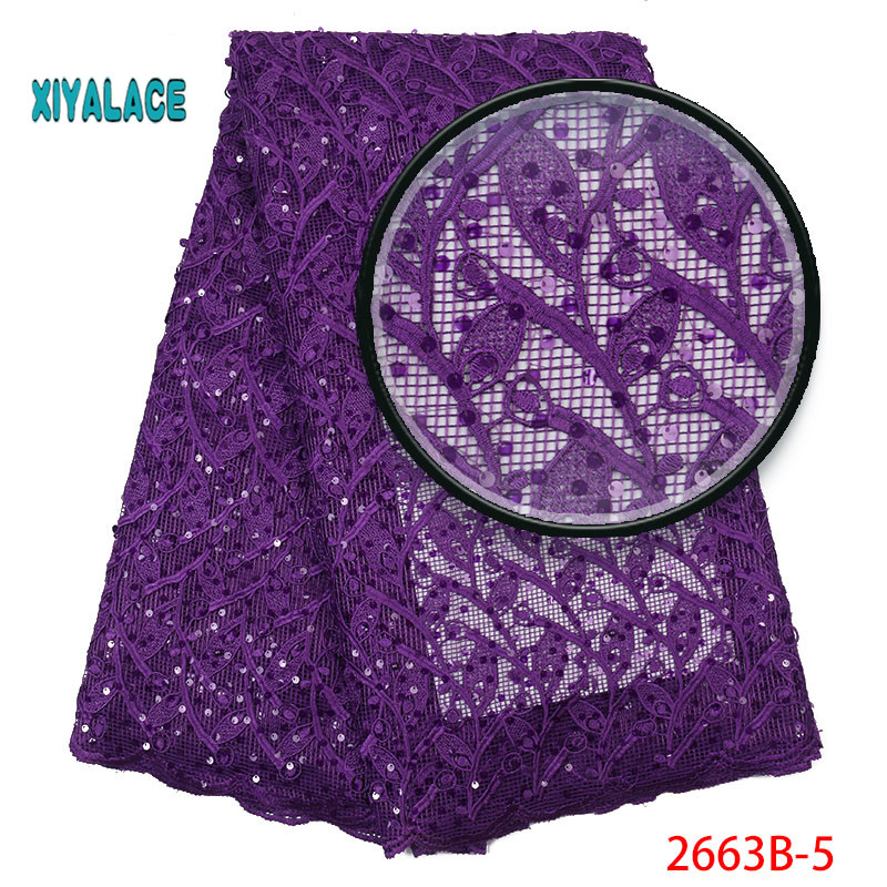 French Lace African Lace Fabric Nigerian Beaded Lace Fabrics African 2019 High Quality Lace Tulle For Party Dress YA2663B-5