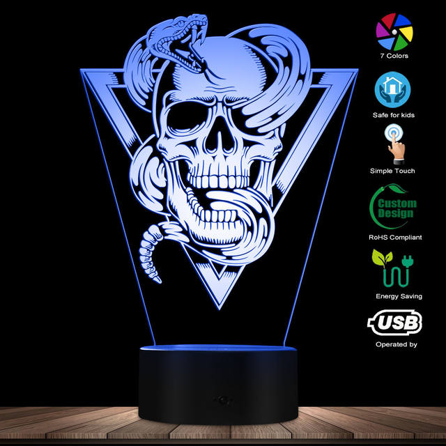 SKULL RATTLESNAKE 3D LED LAMP