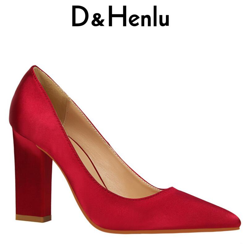 D&Henlu Shoes Brand Women's Sexy Square Heel Pumps Pointed Toe Thick Heel High Heels Wedding Shoes Woman Heels Valentine Pumps sequined high heel stilettos wedding bridal pumps shoes womens pointed toe 12cm high heel slip on sequins wedding shoes pumps