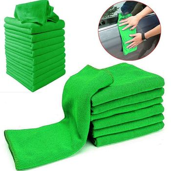 10pcs Green Kitchen Towels Made Of Microfiber Material Suitable For Car Cleaning