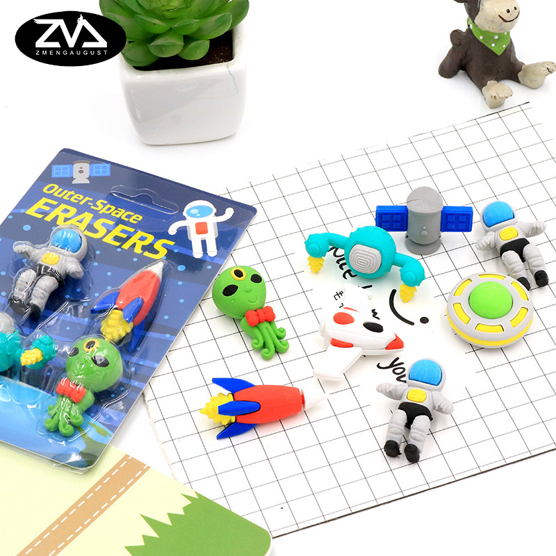 4pcs/box Creative Alien Flying Saucer Boxed Eraser School Stationery Supplies Prize Gifts For Promotion School Office Supplies