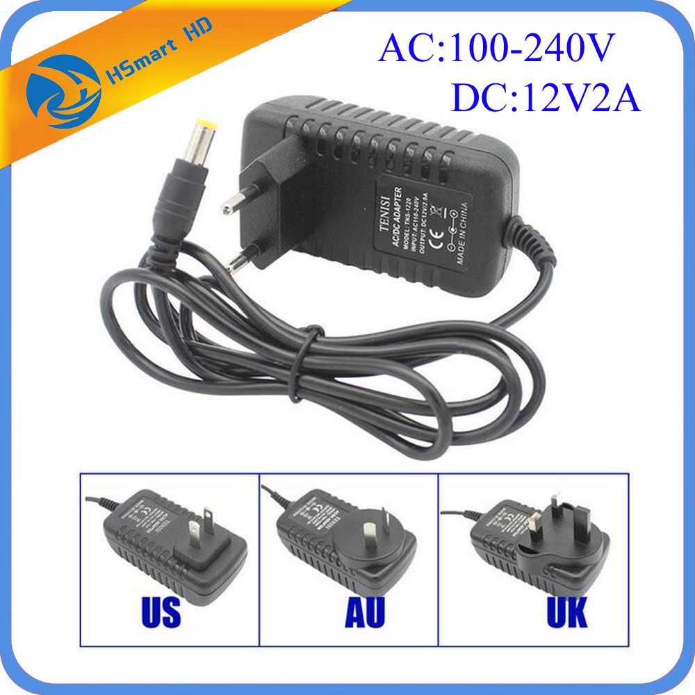 Camera Power DC 12V 2A AC 100-240V EU US UK AU DC Adapter Charger Power Supply 2.5*5.5mm for LED Strip Light DVR Systems security uk us eu au 12 volt 1 amp power supply power adapter for cctv ir infrared night vision lamp dvr systems camera