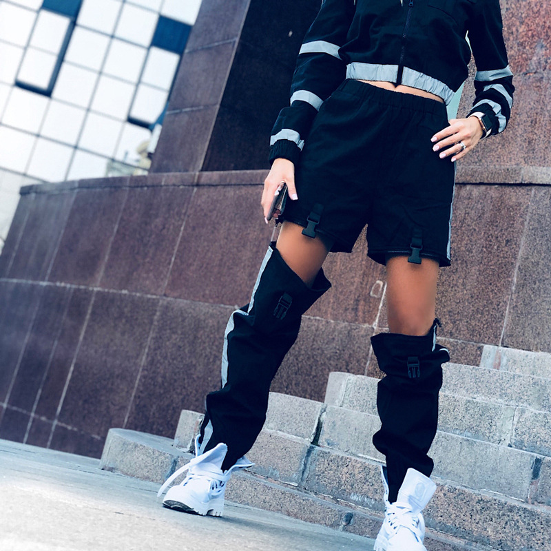 Gothic harajuku streetwear women casual cargo   pants   chic detachable trousers with plastic buckle black   pant   korean   pants     capris