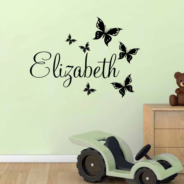 Us 6 98 25 Off Erfly Personalised Name Wall Stickers Baby Nursery Decal Removable Sticker Waterproof Vinyl Sa064b In