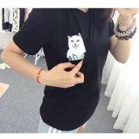 Women T Shirt 2015 Summer Style T Shirt Print Black Pocket Cat Harajuku O Neck Short