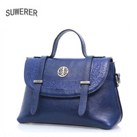 SUWERER Superior Genuine Leather Women Handbags Top Cowhide Embossed Luxury Handbags Women Bags Designer Leather Women