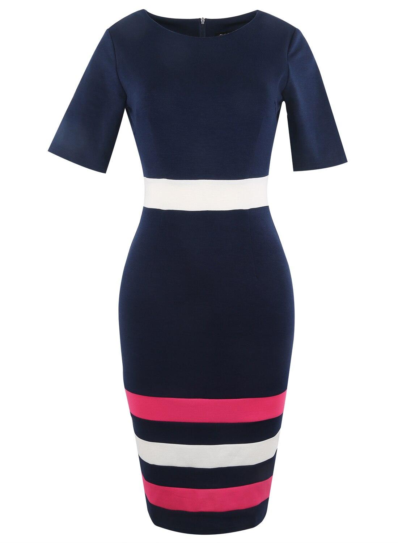 Oxiuly Dunkelblaues Kleid Tunika Frauen Formelle Arbeit Büro Scheide - Damenbekleidung - Foto 3