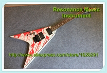 Custom Shop Left Handed Blood Tear Top Flying V LTD Electric Guitar China With Floyd Rose Tremolo(China)
