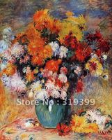 Oil Painting Reproduction on linen canvas,vase of chrysanthemums by Pierre Auguste Renoir , 100% Handmade,Museum quality,