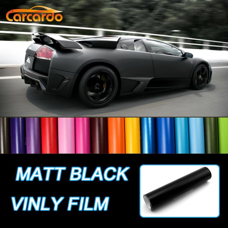 Carcardo 1.52Mx50cm Película de vinilo negro mate Etiqueta engomada del coche Vinyl Wrap Matte Vinyl Car Stickers Vinilo del coche Matte Auto Sticker Vinilo del coche