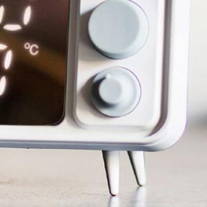 Image 5 - Горячая многофункциональная ретро форма, ТВ будильник, лампа, зеркало, многофункциональные зеркальные часы, термометр, кровать, часы серый, синий
