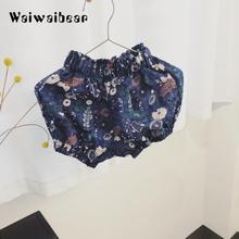 New Fashion Baby Girls Summer Short Pants Flower Print PP Short Pants Baby Girls Elastic Waist Pants Suitable For 1-3T