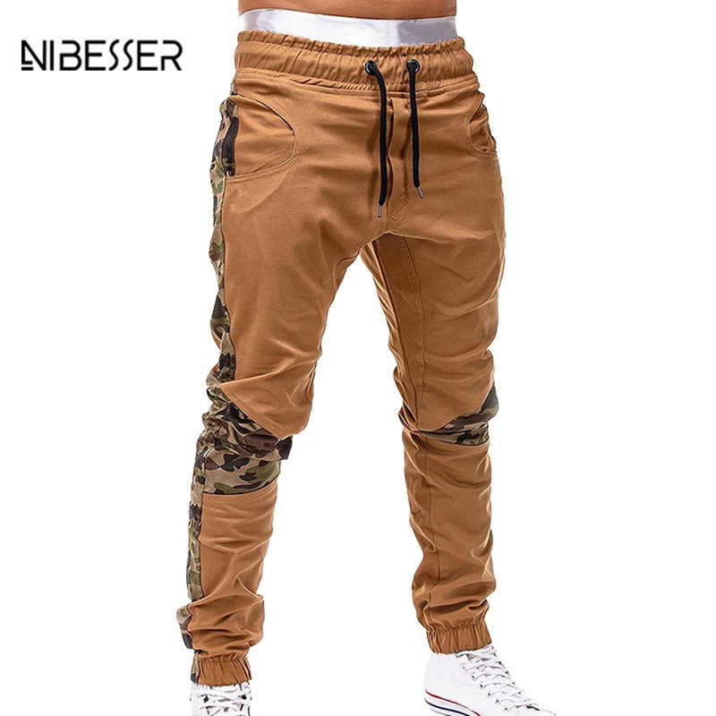 Cotton Sweatpants Camouflage Trousers Male Casual Stitching Men