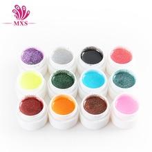 12 Color Glitter UV Gel Builder Polish Set Tips Nail Varnish Gel For Nail Art Tools