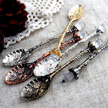 TTLIFE Dining Bar Vintage Royal Style Zinc Alloy Carved Mini Coffee Spoon Flatware Cutlery Dessert Tea Kitchen Accessories