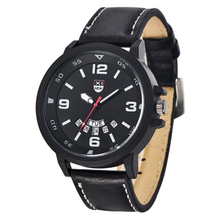 Fashion Men's Leather Band Watches Military Sport Waterproof Clock Analog Quartz Date Wrist Watch wholesale