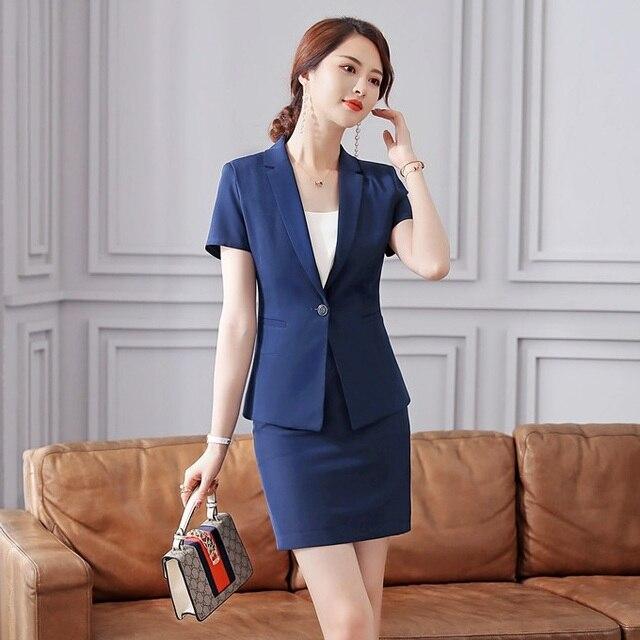 ad911a8c036d Verano Mujer Faldas trajes de chaqueta azul y conjuntos de chaqueta mujeres  negocios señoras ropa de