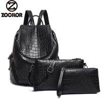 2017 Three Sets Backpack Women Bagpack For Girls Female Leather Schoolbag Women S Backpacks School Bags