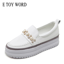 E TOY WORD 2019 White Sneakers Women Shoes Autumn Leather Pearl flat Shoes Women Slip-On Round Toe Shallow Mouth Platform Shoes czrbt sheep suede leather women flats spring crystal pearl dragonfly loafers women concise round toe shallow mouth flat shoes