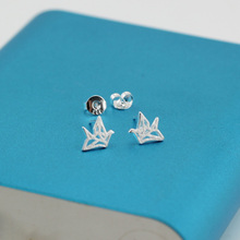 Wholesale High Quality Jewelry Silver Plated Cute Cool Papercranes Stud Earrings For Women Best Gift JY024